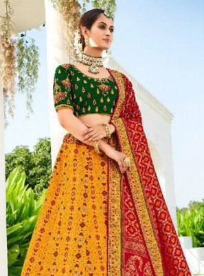 Green, Mustard and Red Silk Reception Lehenga Choli