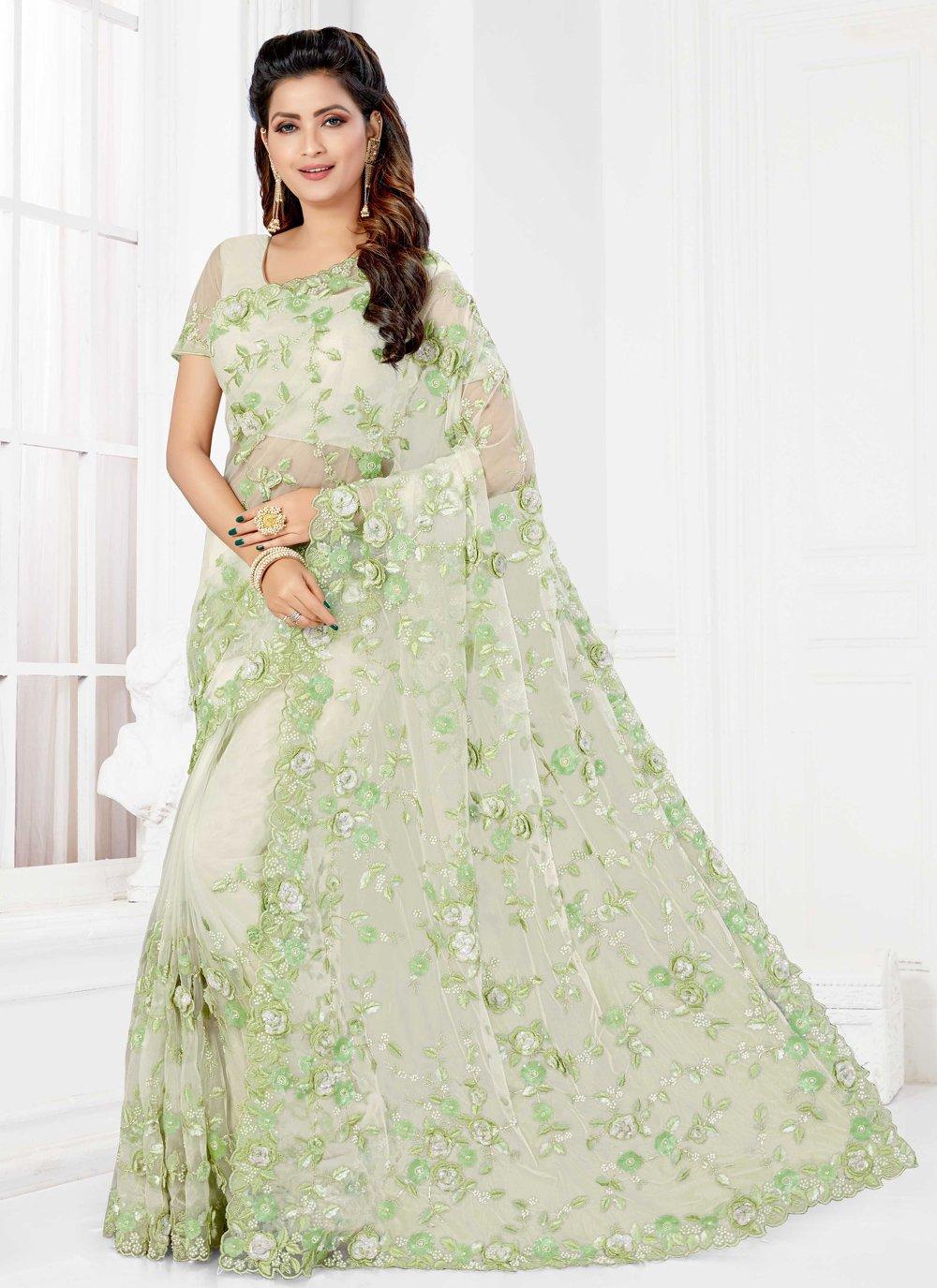 Green Net Classic Designer Saree