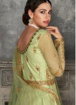 Green Net Floor Length Anarkali Suit