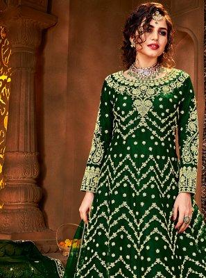 Green Net Mehndi Floor Length Anarkali Suit