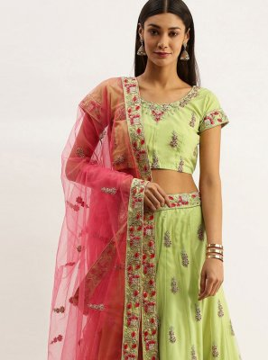 Green Net Sangeet Lehenga Choli
