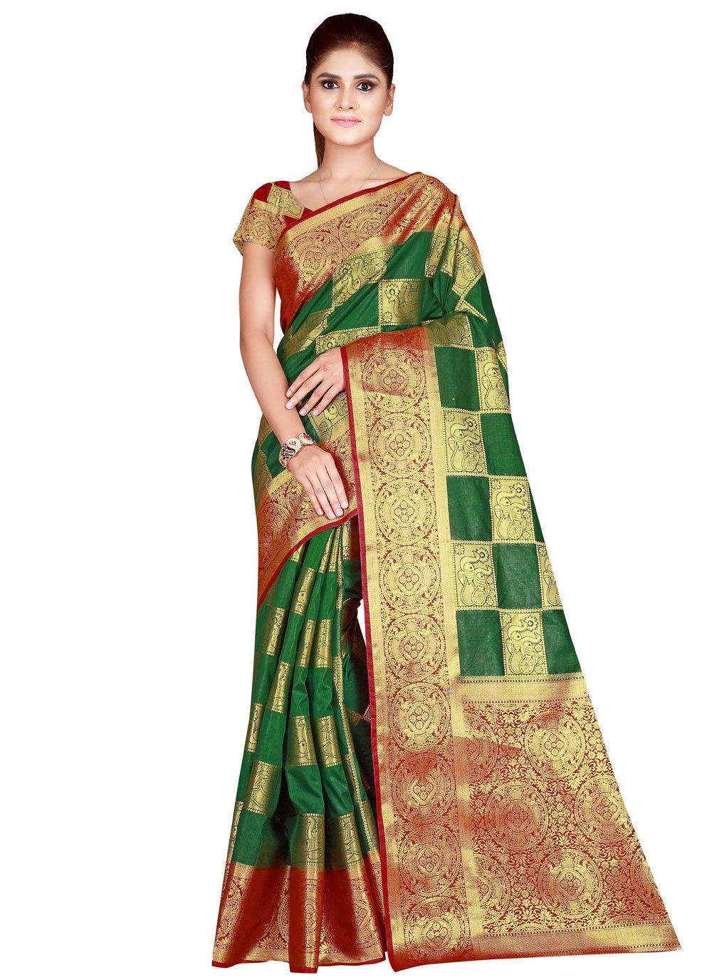 Green Nylon Festival Traditional Designer Saree