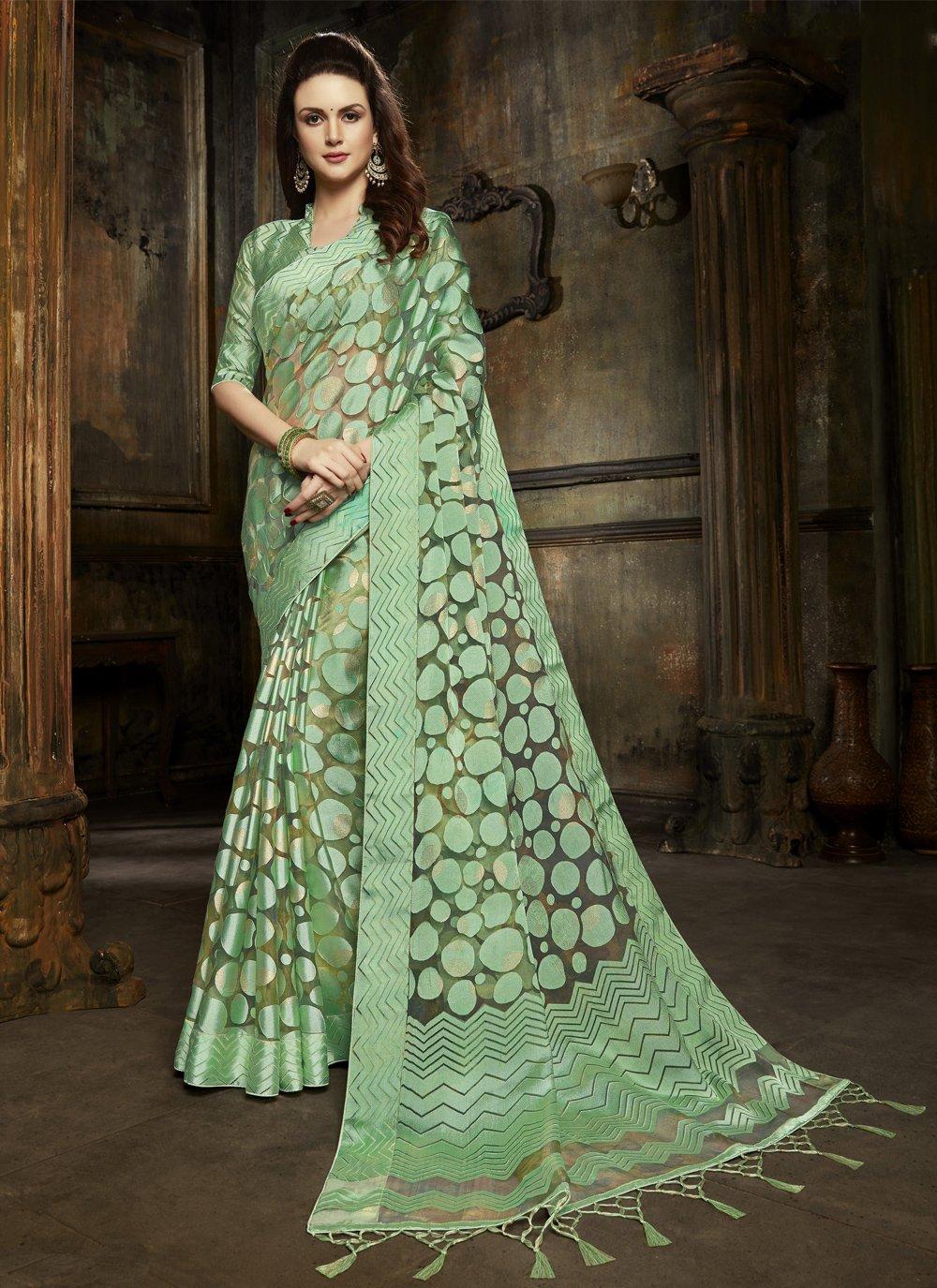 Green Organza Fancy Designer Saree