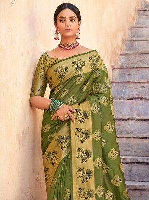 Green Organza Weaving Traditional Designer Saree
