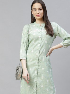 Green Party Cotton Designer Kurti