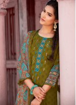 Green Party Cotton Designer Pakistani Suit