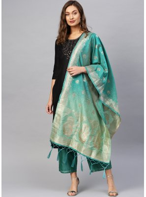 Green Party Designer Dupatta