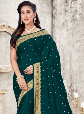 Green Patch Border Classic Designer Saree