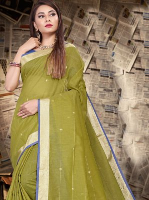 Green Patch Border Linen Bollywood Saree