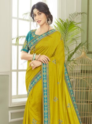 Green Patch Border Mehndi Classic Saree