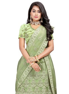 Green Patch Border Net Lehenga Choli