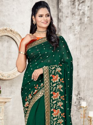 Green Patch Border Silk Designer Traditional Saree