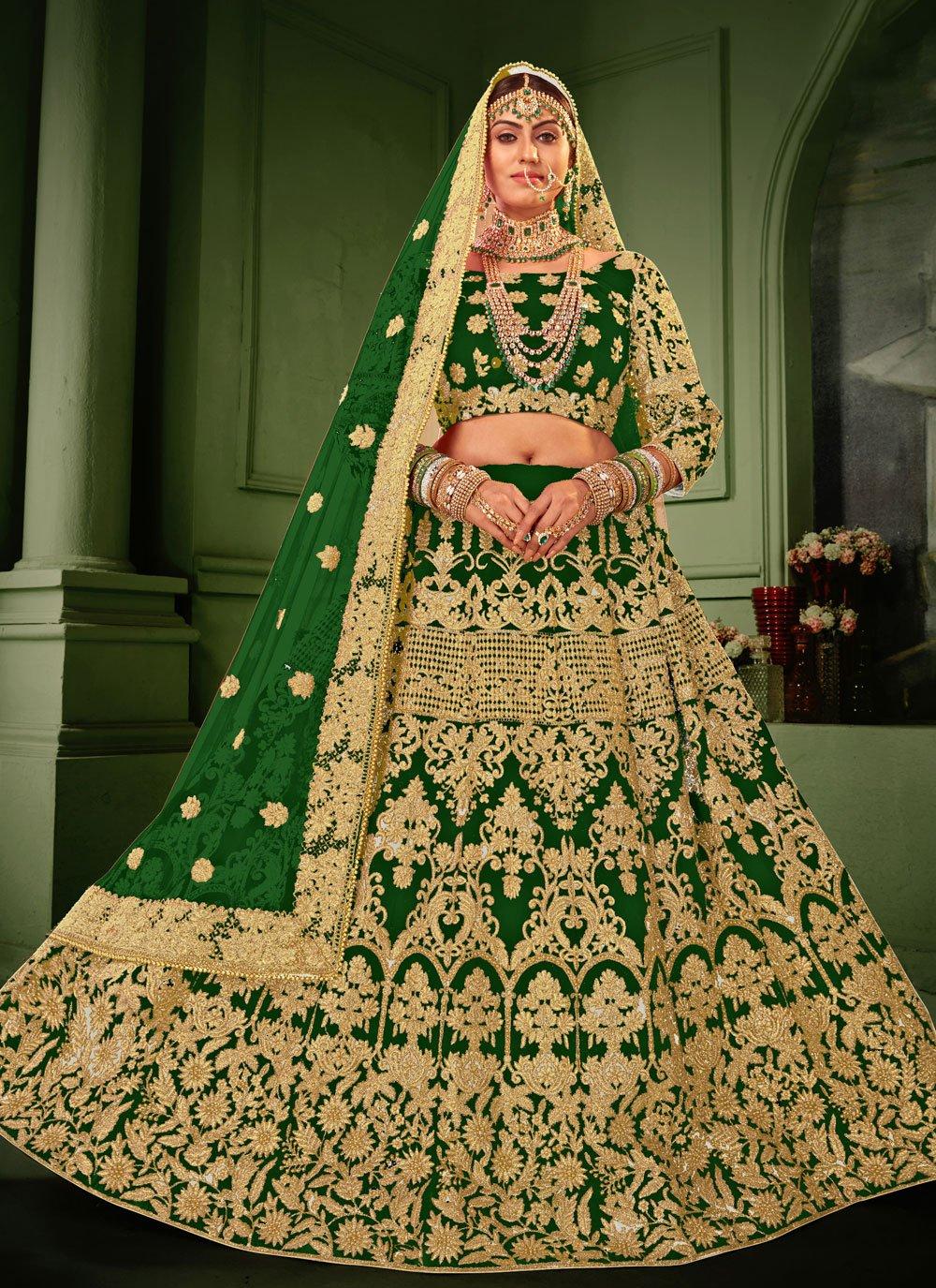 Green Patch Border Velvet Lehenga Choli