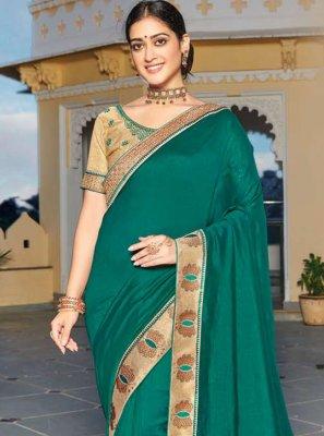 Green Patch Border Vichitra Silk Designer Traditional Saree