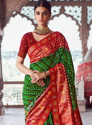 Green Patola Silk  Designer Traditional Saree