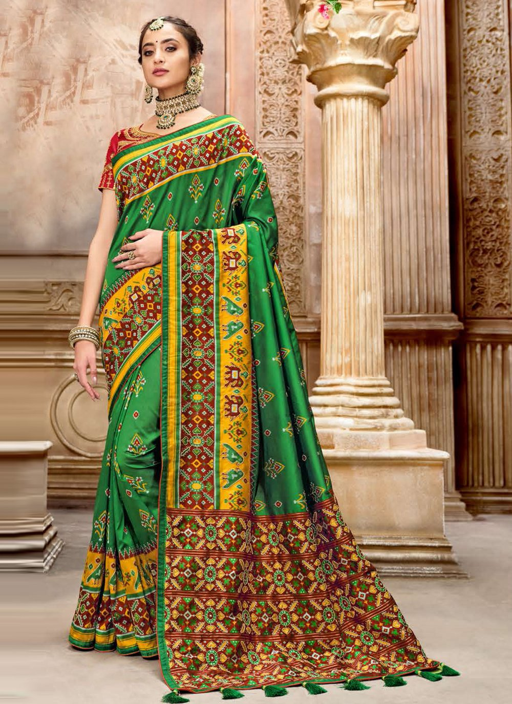 Green Patola Silk  Resham Traditional Designer Saree