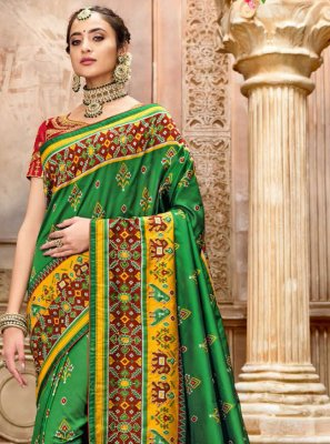 Green Patola Silk  Resham Traditional Designer Saree
