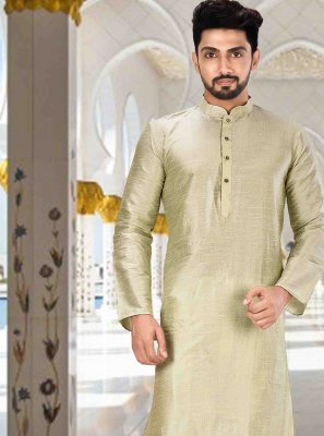 Green Plain Engagement Kurta Pyjama