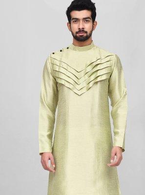 Green Plain Kurta Pyjama