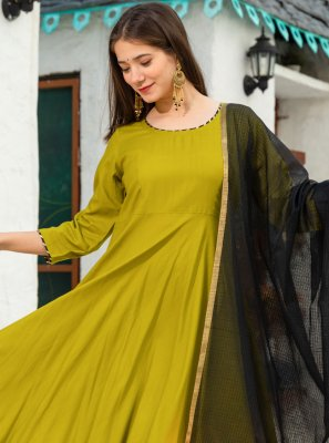 Green Plain Trendy Anarkali Salwar Kameez