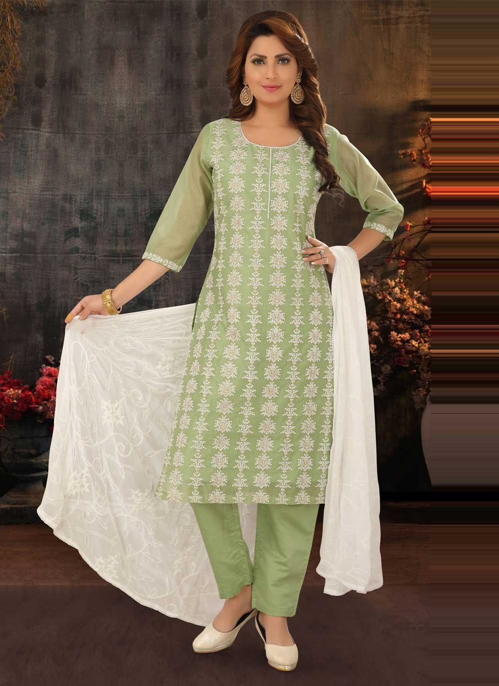 Green Poly Cotton Readymade Suit