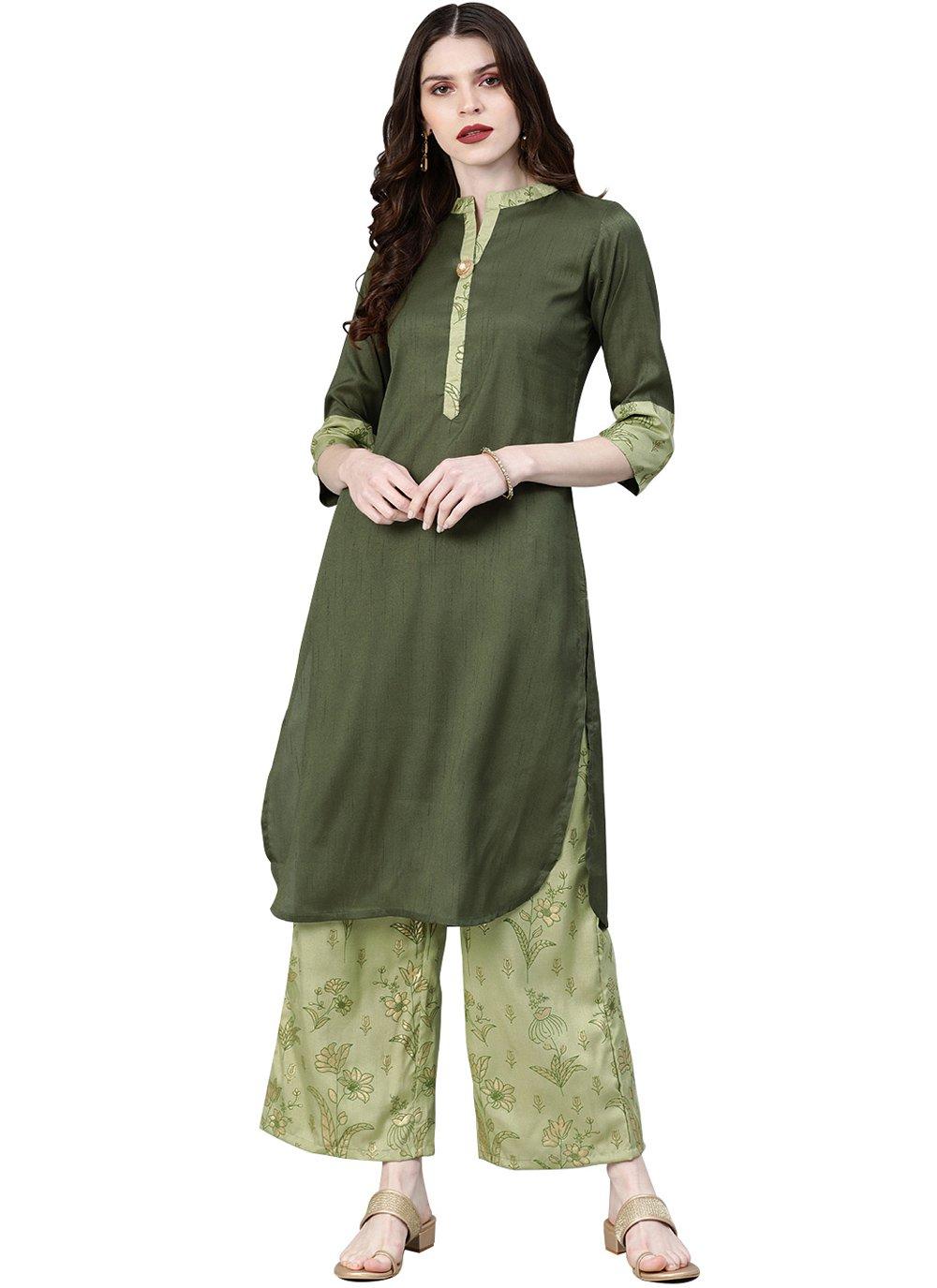 Green Poly Silk Casual Kurti