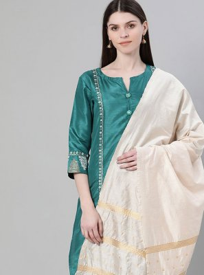 Green Poly Silk Festival Salwar Suit