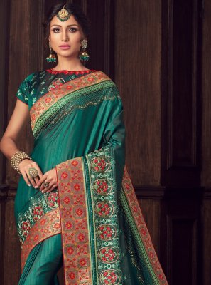 Green Poly Silk Traditional Saree