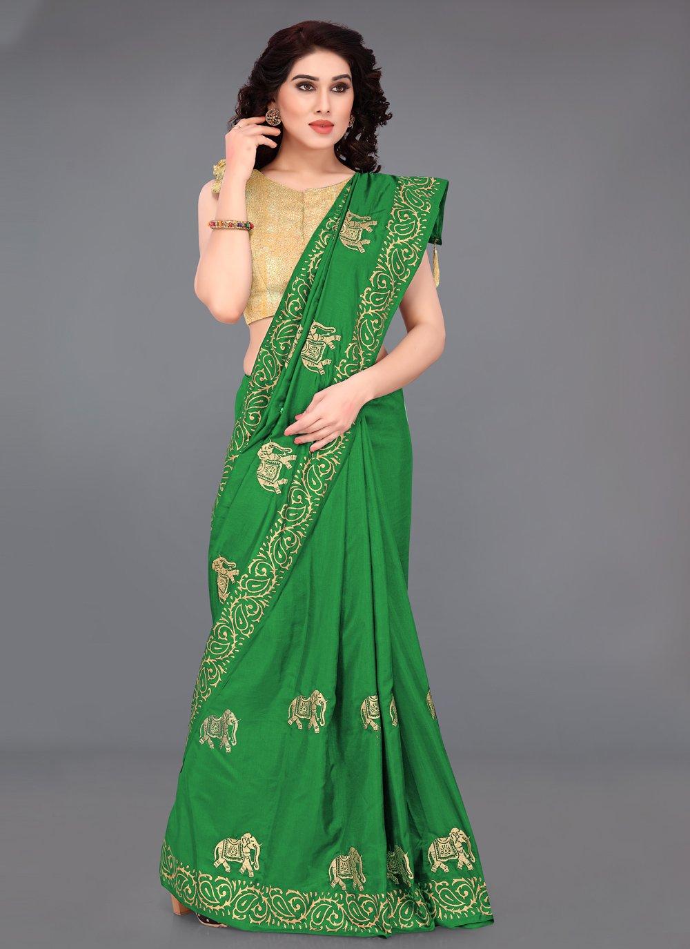 Green Print Casual Printed Saree