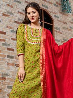 Green Print Ceremonial Readymade Suit