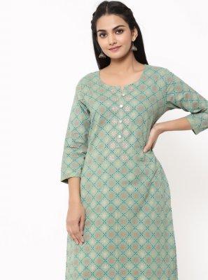 Green Print Cotton Designer Kurti