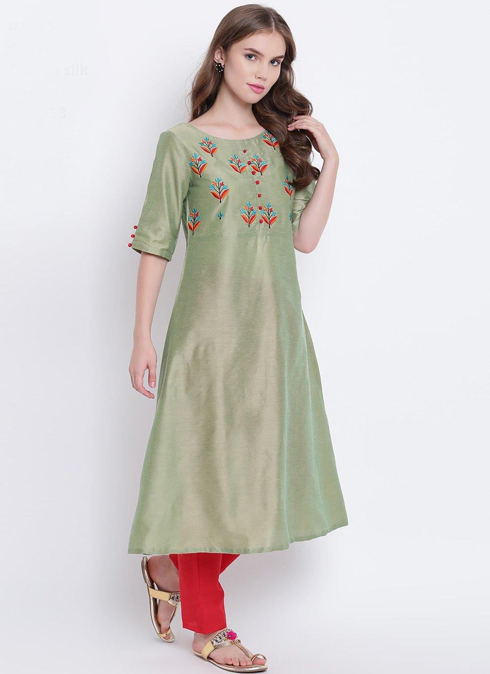 Green Print Cotton Silk Party Wear Kurti