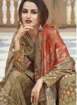 Green Print Faux Crepe Designer Palazzo Salwar Kameez
