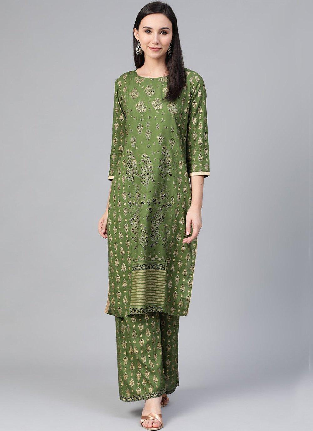 Green Print Viscose Party Wear Kurti