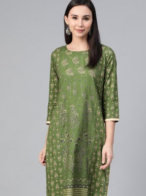 Green Print Viscose Party Wear Kurti