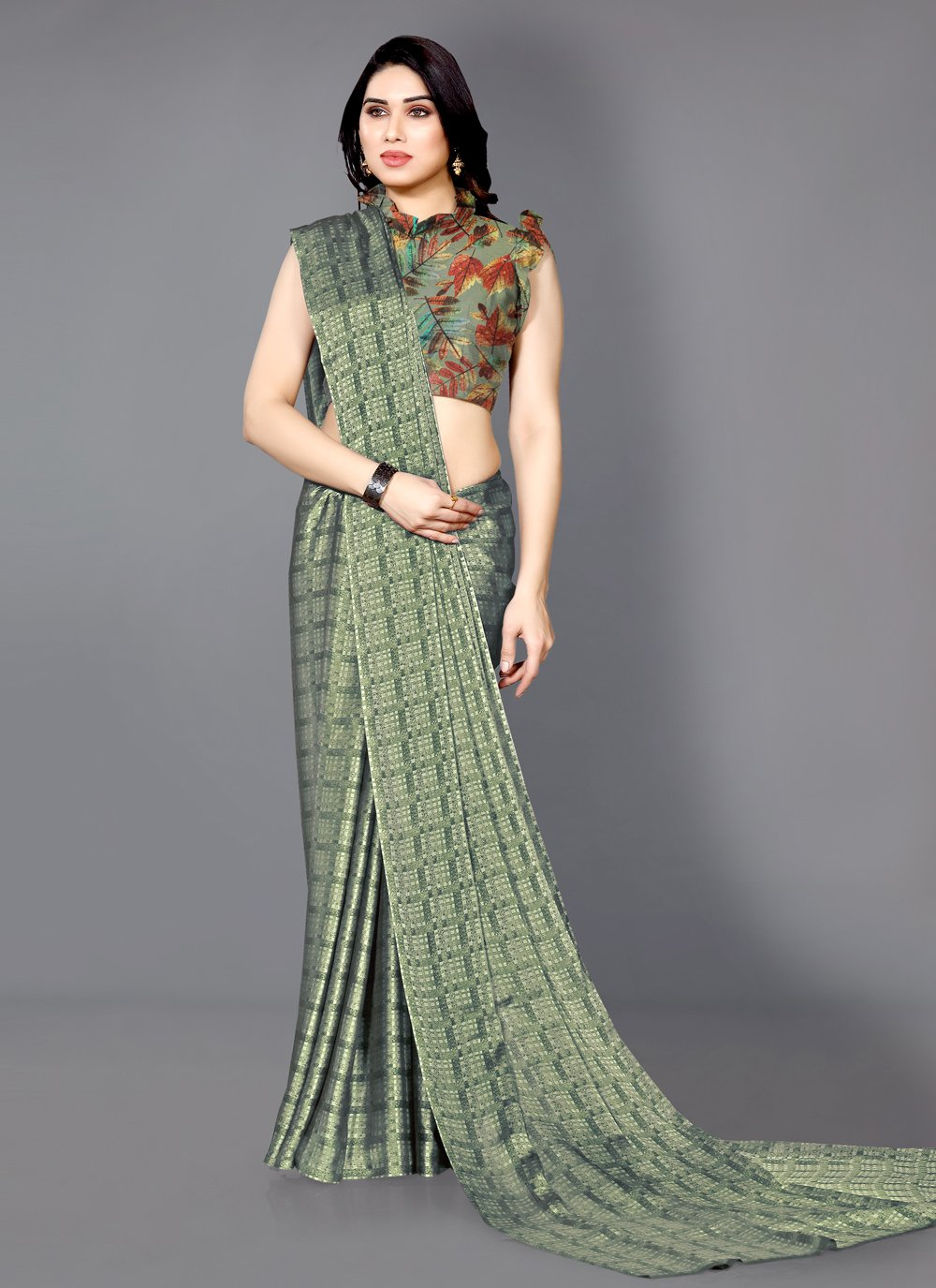 Green Printed Casual Printed Saree