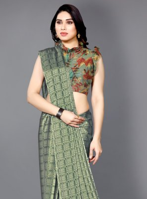 Green Printed Casual Printed Saree