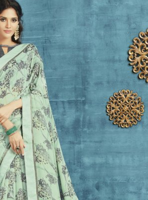 Green Printed Ceremonial Designer Saree