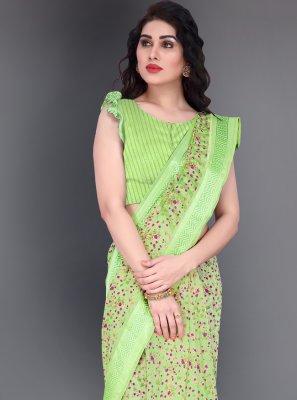 Green Printed Cotton Printed Saree