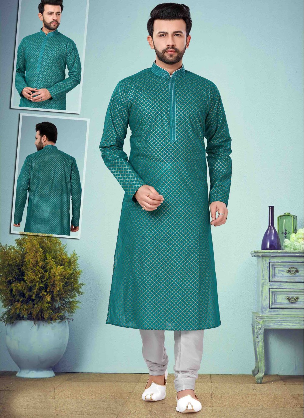 Green Printed Cotton Silk Kurta Pyjama