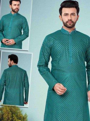 Green Printed Cotton Silk Kurta Pyjama