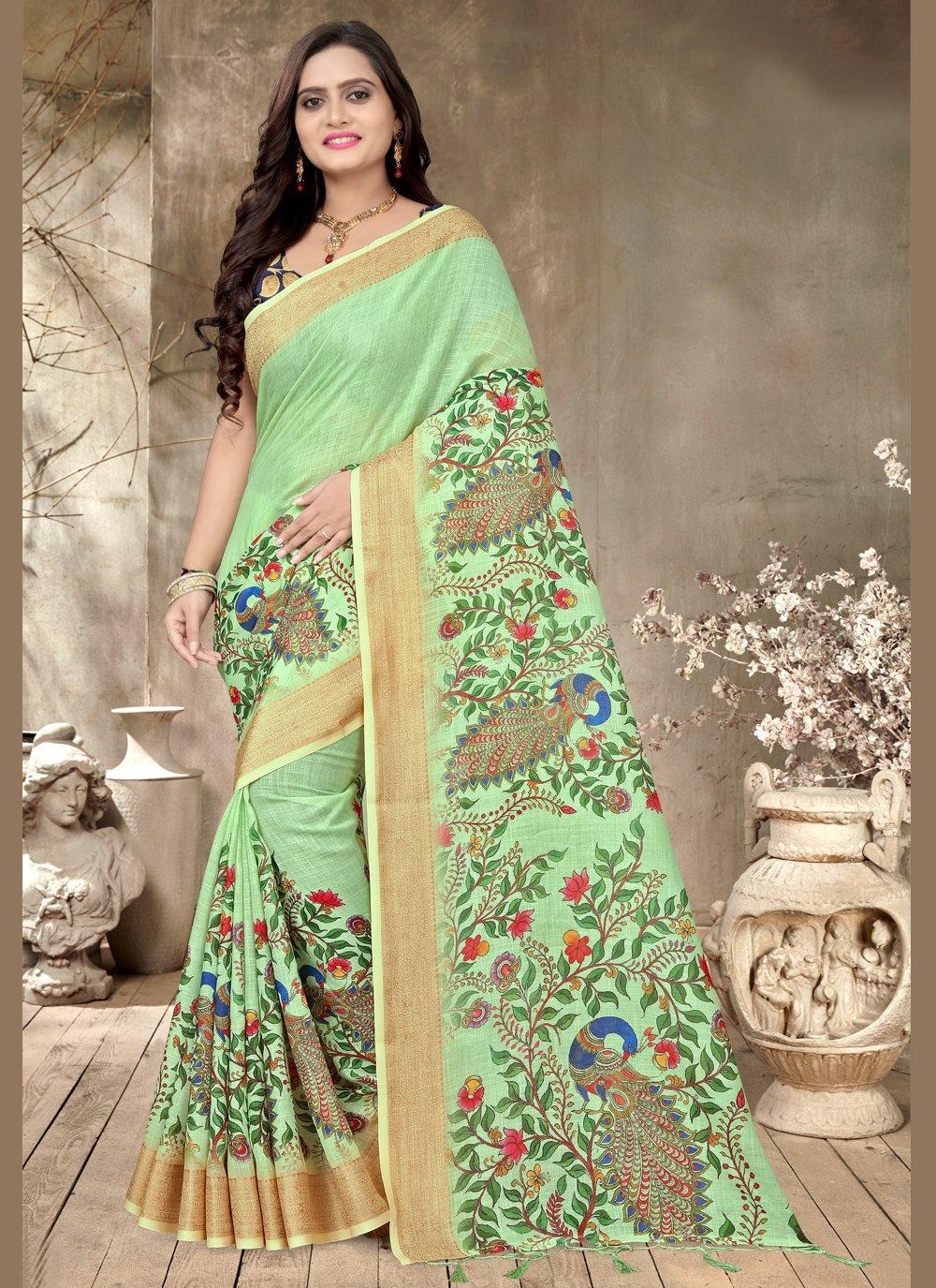 Green Printed Cotton Trendy Saree