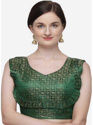 Green Printed Designer Blouse