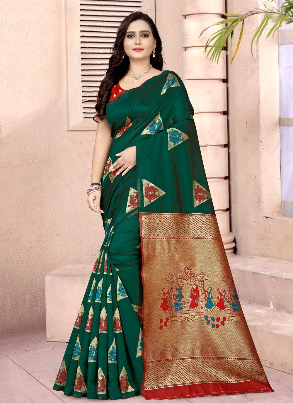 Green Printed Fancy Fabric Printed Saree