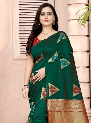 Green Printed Fancy Fabric Printed Saree