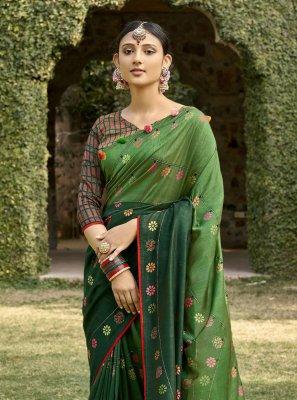 Green Printed Festival Bollywood Saree