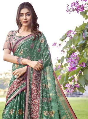 Green Printed Festival Trendy Saree