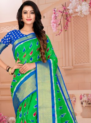 Green Printed Printed Saree