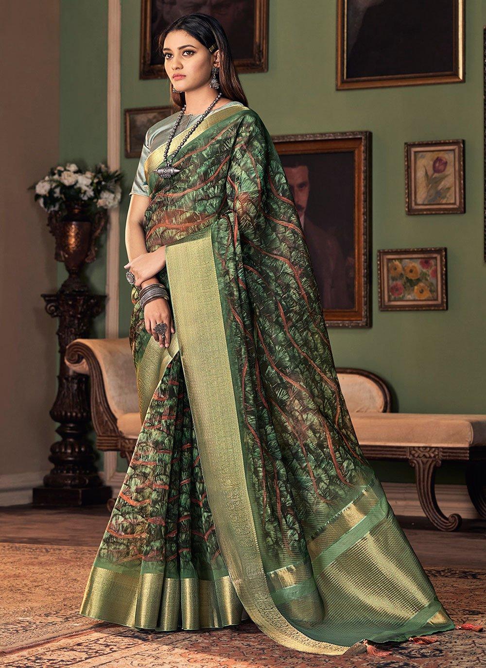 Green Printed Silk Designer Traditional Saree