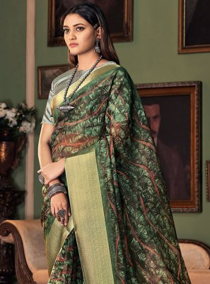 Green Printed Silk Designer Traditional Saree